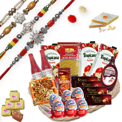 4 Rakhi Threads with Gift Hampers