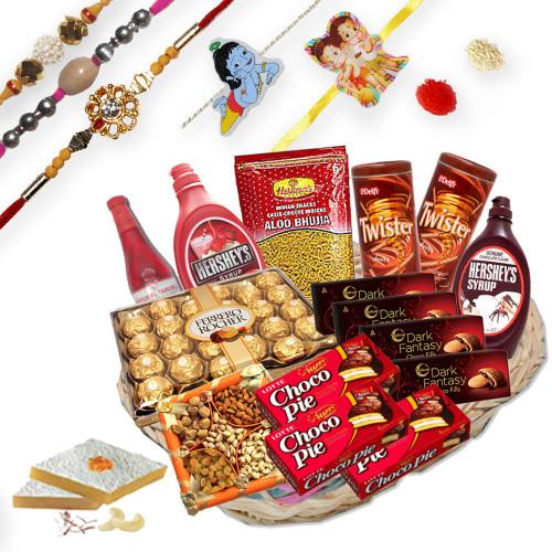 3 Elegant Rakhi Threads, 2 Kids Rakhi with Gift Hampers