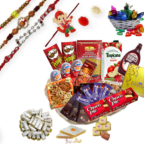 3 Elegant Rakhi Threads, 1 Bal Ganesh Kids Rakhi with Gift Hamper