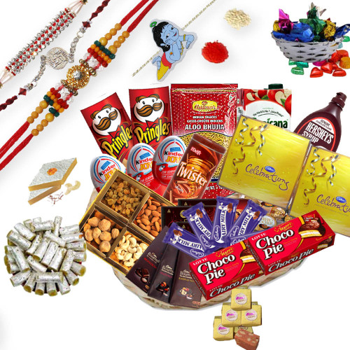 3 Elegant Rakhi Threads, 1 Bal Krishna Kids Rakhi with Gift Hamper