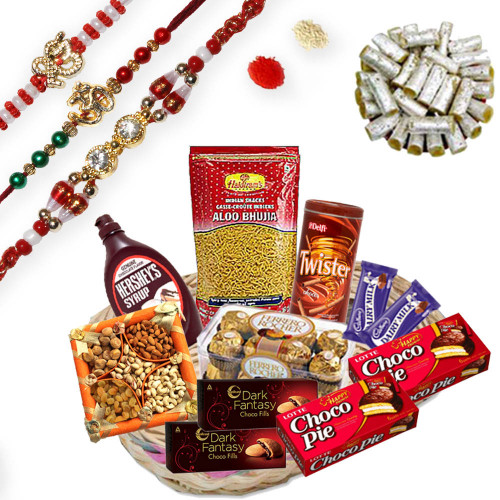 Auspicious Om, Waheguru and Diamond Rakhi Thread with Gift Hamper