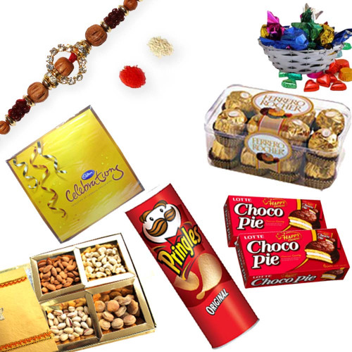 American Diamond Rudraksh Rakhi Thread with Gift Hamper