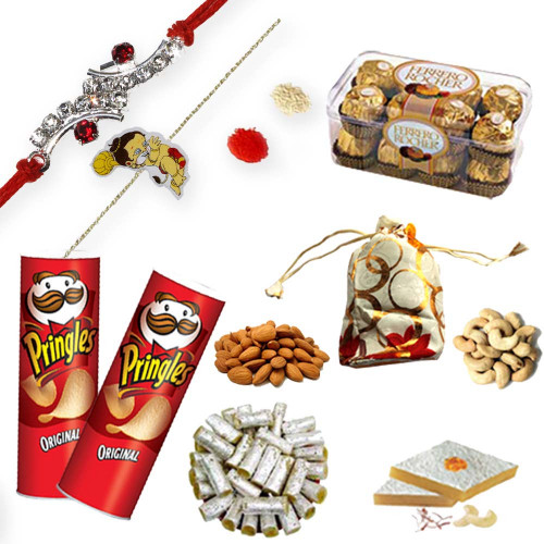 Bal Hanuman Kids Rakhi, American Diamond Rakhi Thread with Hamper
