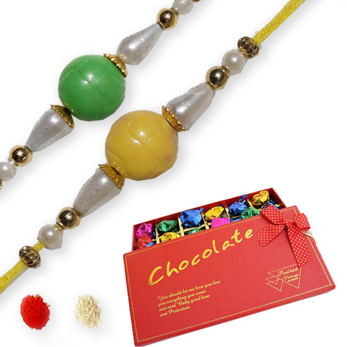2 Diamond Rakhis with Delicious Treat