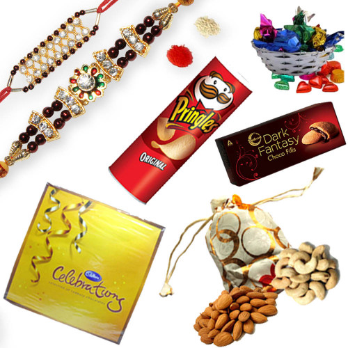 Beautiful Elegant 2 American Diamond Rakhi Thread with Gift Hamper