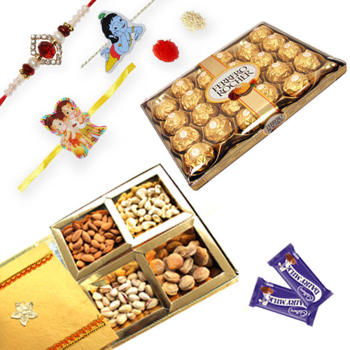 3 Kids and American Diamond Rakhi with Gift Hamper